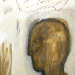 Kopf – Linie, 2004, Acryl/Schellack auf Holzfaserplatte, 40 x 60 cm