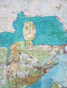 kleine Gebiete (3), 2005, Öl/Graphit auf Landkarte, 28 x 21 cm