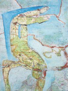 kleine Gebiete (4), 2005, Öl/Graphit auf Landkarte, 28 x 21 cm