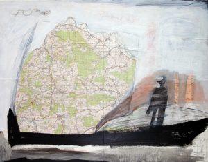 Frachtschiff, 2006, Mischtechnik auf Landkarte, 72,5 x 56,5 cm