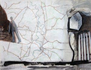 weggegangen, 2006, Mischtechnik auf Landkarte, 68,5 x 53 cm