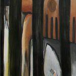 Zuhause 2, 2008, Acryl/Kohle/Schellack auf MDF, 240 x 80 cm