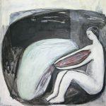 Herz ausschütten, 2011, Kreide/Acryl/Schellack auf MDF, 80 x 80 cm