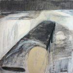Steg, 2011, Kreide/Graphit/Acryl/Schellack auf MDF, 80 x 80 cm