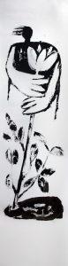 mit Blume, 2011, Öl auf Transparentpapier, ca. 260 x 66 cm