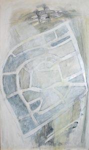 Straßen Räume (Salzgitter-Bad 2), 2012, Wachs/Acryl/Graphit auf MDF, 50 x 30 cm