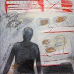 Vorbereitungen, 2013, Kohle/Acryl/Schellack auf MDF, 80 x 80 cm