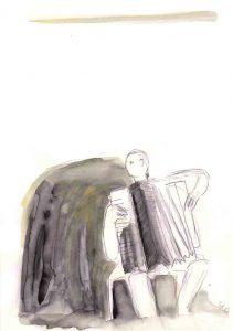 Fisarmonica 1, 2013, Aquarell/Graphit auf Papier, 30 x 21 cm