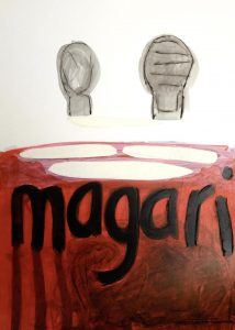 magari, 2013, Kreide/Graphit/Acryl/Collage auf Papier, 38 x 27,5 cm