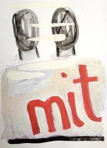 mit, 2013, Kreide/Graphit/Acryl/Collage auf Papier, 38 x 27,5 cm