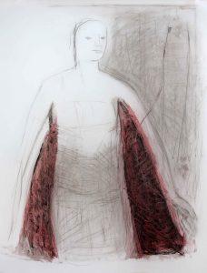 Serie Kleid (zwischen Dreiecken), 2014, Graphit/Farbstift/Kohle/Öl auf transparenter Folie, 120 x 90 cm
