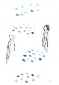 Träumer, 2014, Wachs/Kohle/Graphit auf Papier, 30 x 21 cm