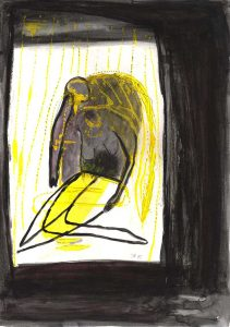 Gespenster 2, 2015, Acryl/Kohle/Graphit auf Papier, 30 x 21 cm