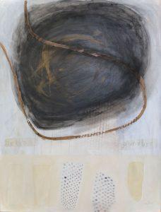 Kopf (hello - goodbye), 2015, Graphit/Acryl/Wachs/Schellack auf MDF, 80 x 60 cm