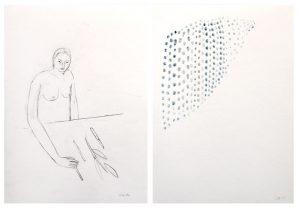 Memory_ordnen, 2015, Wachs/Graphit auf Papier, 2 Blätter à 29,7 x 21 cmà