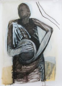 Tamburello (am Feld), 2015, Öl auf transparenter Folie, 120 x 90 cm