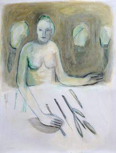 das Ordnen, 2015, Öl auf transparenter Folie, 120 x 90 cm