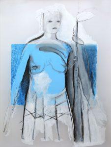 Serie Kleid (im Rock), 2015, Graphit/Farbstift/Öl/Acryl auf transparenter Folie, 120 x 90 cm