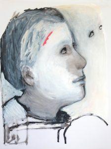 Die verwundete Frau, 2016, Öl auf transparenter Folie, 120 x 90 cm
