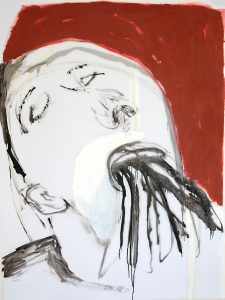 atmen, 2016, Öl auf transparenter Folie, 120 x 90 cm
