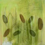 Wiese 2, 2007, Acryl/Kohle/Schellack auf MDF, 80 x 80 cm