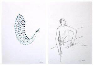Memory_ordnen 2, 2015, Wachs/Graphit auf Papier, 2 Blätter à 29,7 x 21 cmà